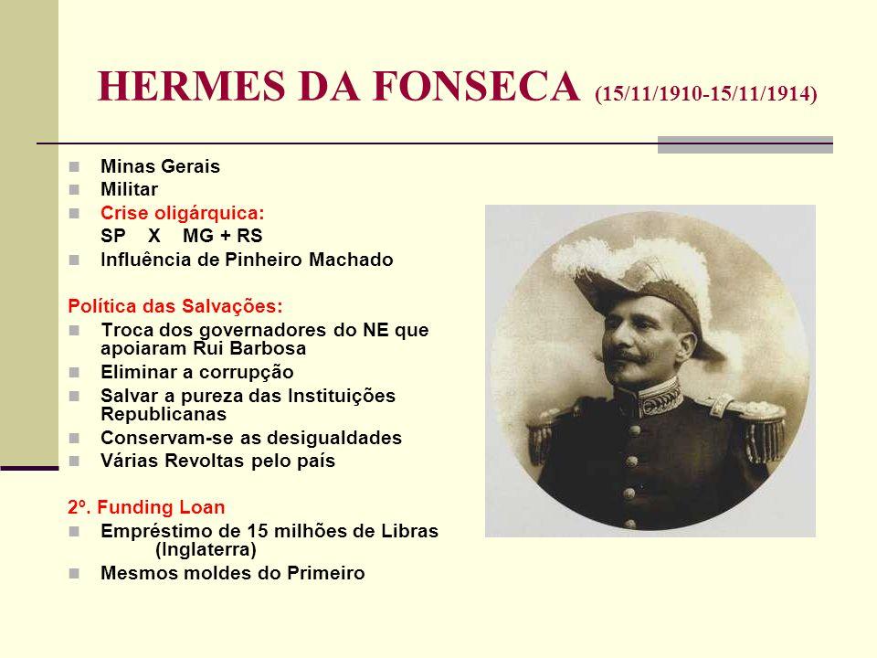 HERMES DA FONSECA (15/11/1910-15/11/1914) Minas Gerais Militar Crise oligárquica: SP X MG + RS Influência de Pinheiro Machado Política das Salvações: