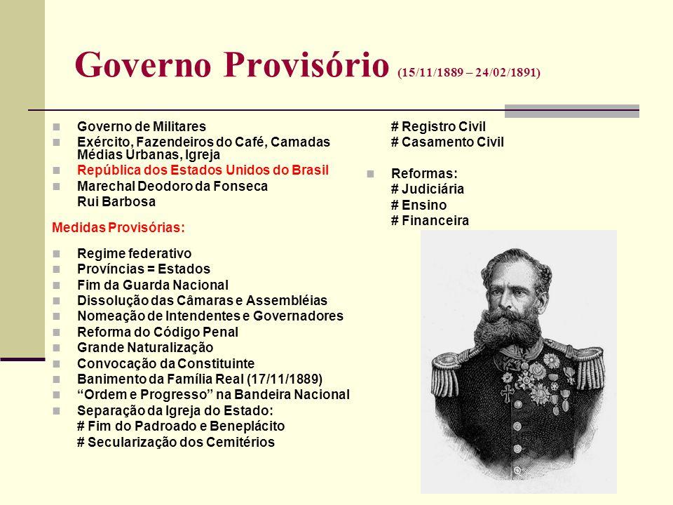 Governo Provisório (15/11/1889 – 24/02/1891) Governo de Militares Exército, Fazendeiros do Café, Camadas Médias Urbanas, Igreja República dos Estados
