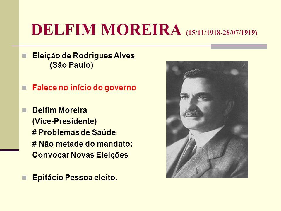 DELFIM MOREIRA (15/11/1918-28/07/1919) Eleição de Rodrigues Alves (São Paulo) Falece no início do governo Delfim Moreira (Vice-Presidente) # Problemas