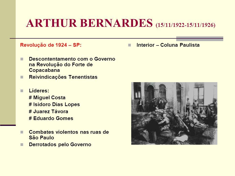 ARTHUR BERNARDES (15/11/1922-15/11/1926) Revolução de 1924 – SP: Descontentamento com o Governo na Revolução do Forte de Copacabana Reivindicações Ten