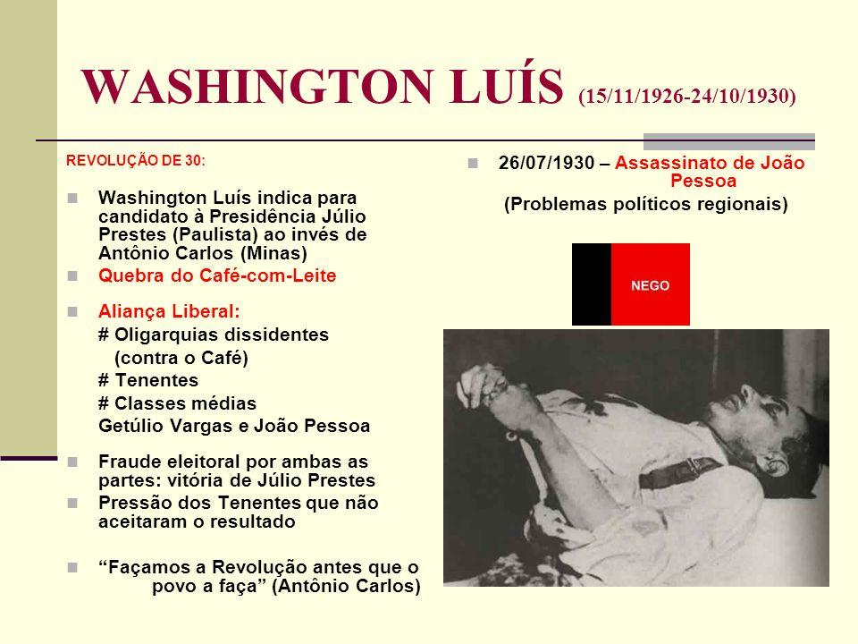 WASHINGTON LUÍS (15/11/1926-24/10/1930) REVOLUÇÃO DE 30: Washington Luís indica para candidato à Presidência Júlio Prestes (Paulista) ao invés de Antô