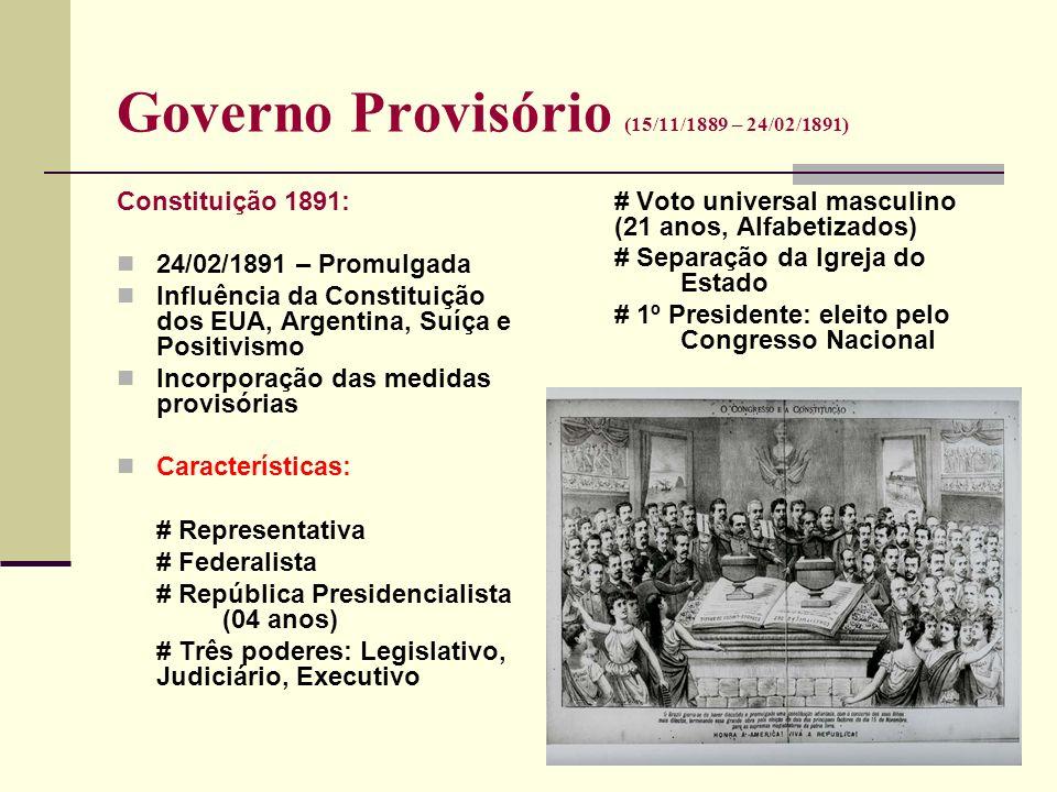 Governo Provisório (15/11/1889 – 24/02/1891) Constituição 1891: 24/02/1891 – Promulgada Influência da Constituição dos EUA, Argentina, Suíça e Positiv
