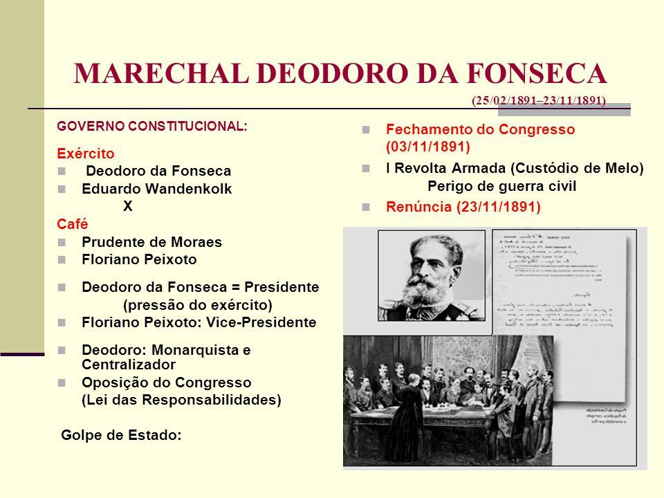 MARECHAL DEODORO DA FONSECA (25/02/1891–23/11/1891) GOVERNO CONSTITUCIONAL: Exército Deodoro da Fonseca Eduardo Wandenkolk X Café Prudente de Moraes F