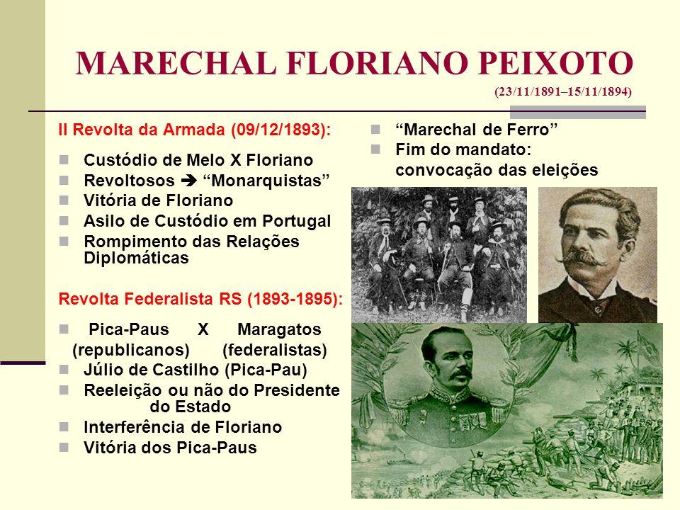 MARECHAL FLORIANO PEIXOTO (23/11/1891–15/11/1894) II Revolta da Armada (09/12/1893): Custódio de Melo X Floriano Revoltosos Monarquistas Vitória de Fl