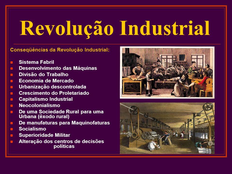 Revolução Industrial Conseqüências da Revolução Industrial: Sistema Fabril Desenvolvimento das Máquinas Divisão do Trabalho Economia de Mercado Urbani