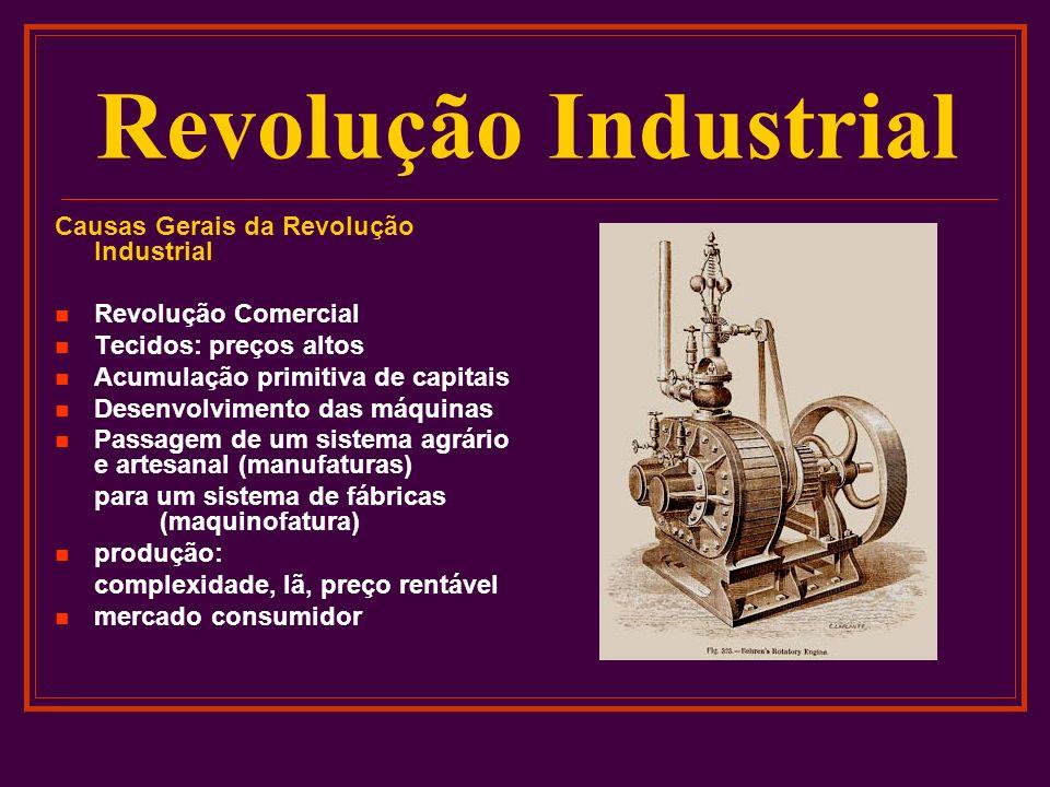 Revolução Industrial Causas Gerais da Revolução Industrial Revolução Comercial Tecidos: preços altos Acumulação primitiva de capitais Desenvolvimento