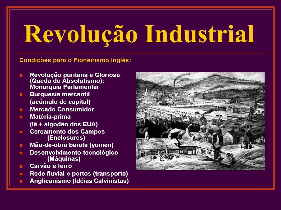 Revolução Industrial Condições para o Pioneirismo Inglês: Revolução puritana e Gloriosa (Queda do Absolutismo): Monarquia Parlamentar Burguesia mercan