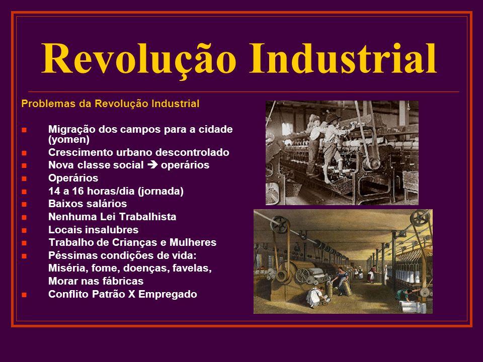 Revolução Industrial Problemas da Revolução Industrial Migração dos campos para a cidade (yomen) Crescimento urbano descontrolado Nova classe social o