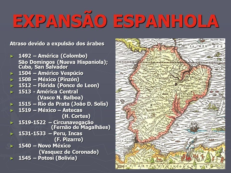 Atraso devido a expulsão dos árabes 1492 – América (Colombo) 1492 – América (Colombo) São Domingos (Nueva Hispaniola); Cuba, San Salvador 1504 – Améri