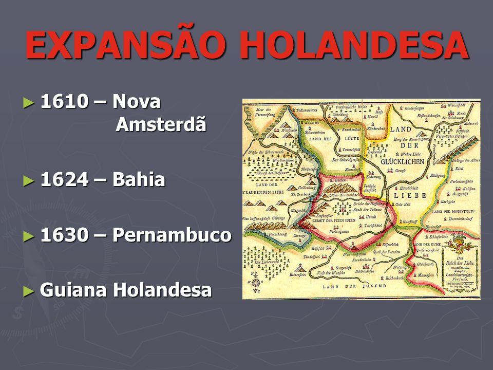 EXPANSÃO HOLANDESA 1610 – Nova Amsterdã 1610 – Nova Amsterdã 1624 – Bahia 1624 – Bahia 1630 – Pernambuco 1630 – Pernambuco Guiana Holandesa Guiana Hol