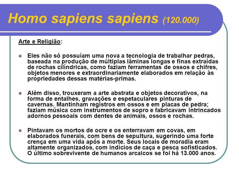 Homo sapiens sapiens (120.000) Arte e Religião: Eles não só possuíam uma nova a tecnologia de trabalhar pedras, baseada na produção de múltiplas lâmin