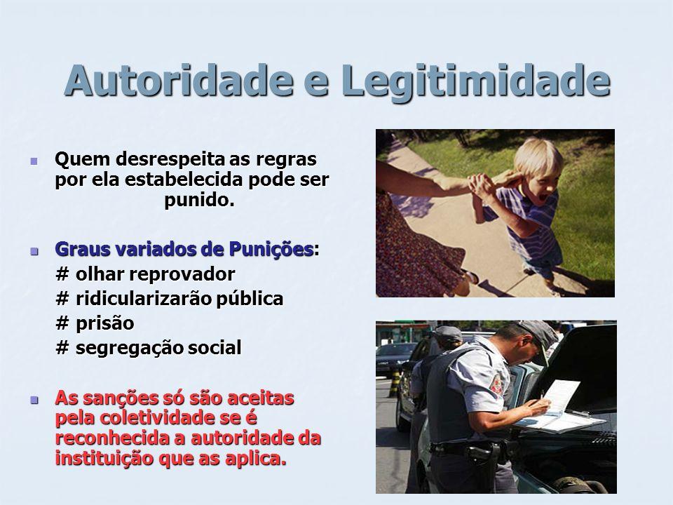 Autoridade e Legitimidade Quem desrespeita as regras por ela estabelecida pode ser punido. Quem desrespeita as regras por ela estabelecida pode ser pu