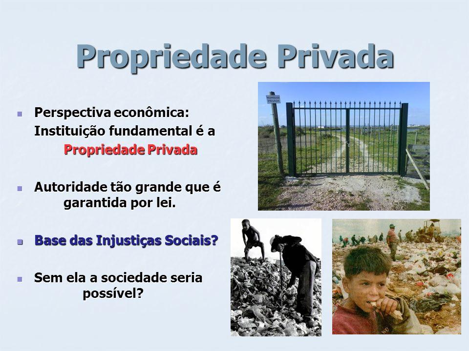 Propriedade Privada Perspectiva econômica: Perspectiva econômica: Instituição fundamental é a Propriedade Privada Autoridade tão grande que é garantid
