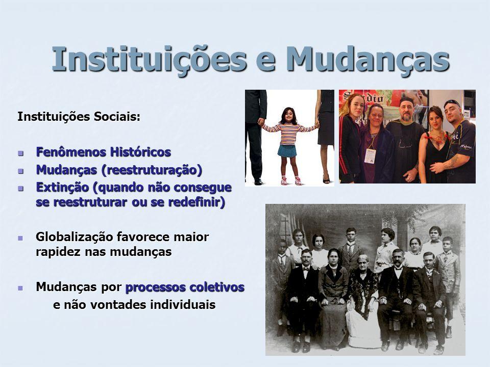 Instituições e Mudanças Instituições e Mudanças Instituições Sociais: Fenômenos Históricos Fenômenos Históricos Mudanças (reestruturação) Mudanças (re