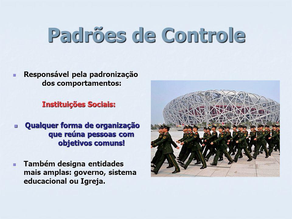 Padrões de Controle Responsável pela padronização dos comportamentos: Responsável pela padronização dos comportamentos: Instituições Sociais: Qualquer