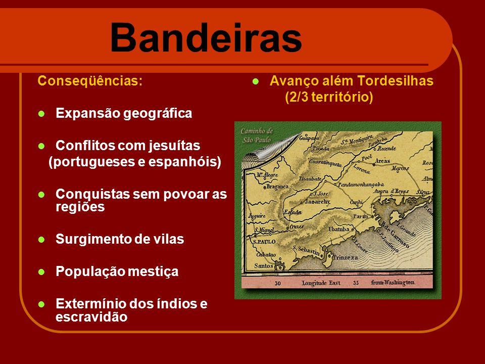 Bandeiras Conseqüências: Expansão geográfica Conflitos com jesuítas (portugueses e espanhóis) Conquistas sem povoar as regiões Surgimento de vilas Pop