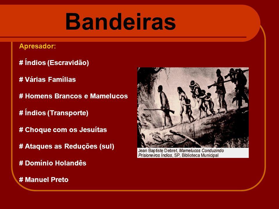 Bandeiras Apresador: # Índios (Escravidão) # Várias Famílias # Homens Brancos e Mamelucos # Índios (Transporte) # Choque com os Jesuítas # Ataques as