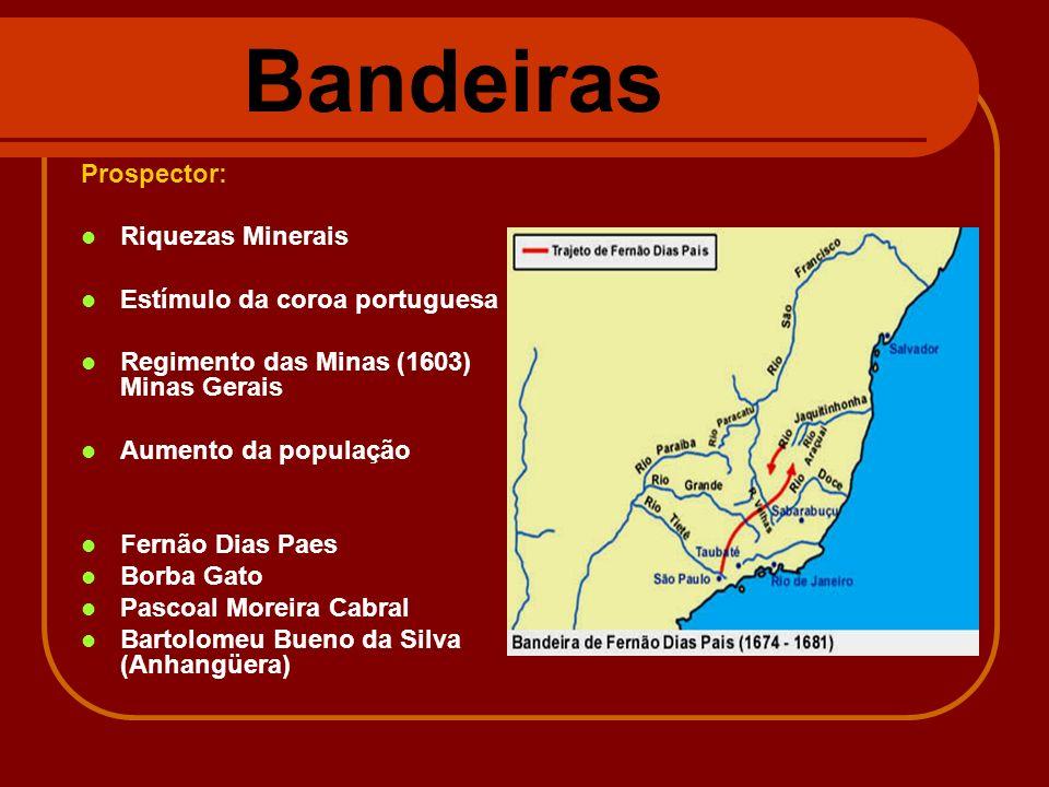 Bandeiras Prospector: Riquezas Minerais Estímulo da coroa portuguesa Regimento das Minas (1603) Minas Gerais Aumento da população Fernão Dias Paes Bor