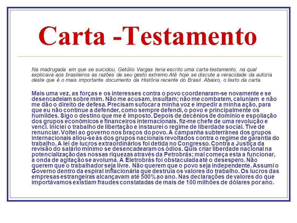 Carta -Testamento Na madrugada em que se suicidou, Getúlio Vargas teria escrito uma carta-testamento, na qual explicava aos brasileiros as razões de s