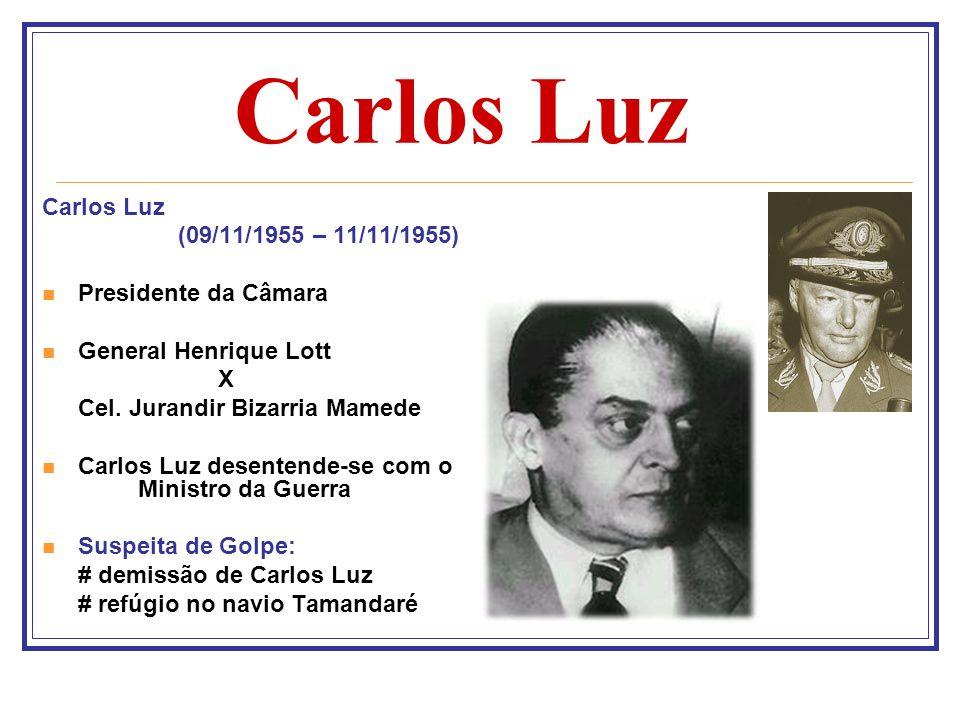 Carlos Luz (09/11/1955 – 11/11/1955) Presidente da Câmara General Henrique Lott X Cel. Jurandir Bizarria Mamede Carlos Luz desentende-se com o Ministr