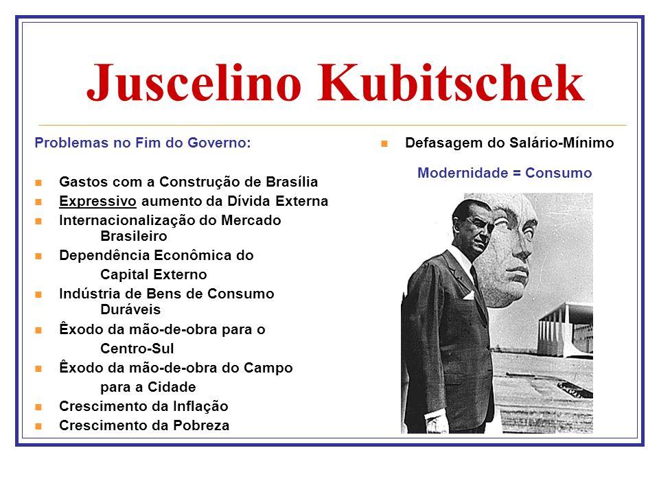 Juscelino Kubitschek Problemas no Fim do Governo: Gastos com a Construção de Brasília Expressivo aumento da Dívida Externa Internacionalização do Merc