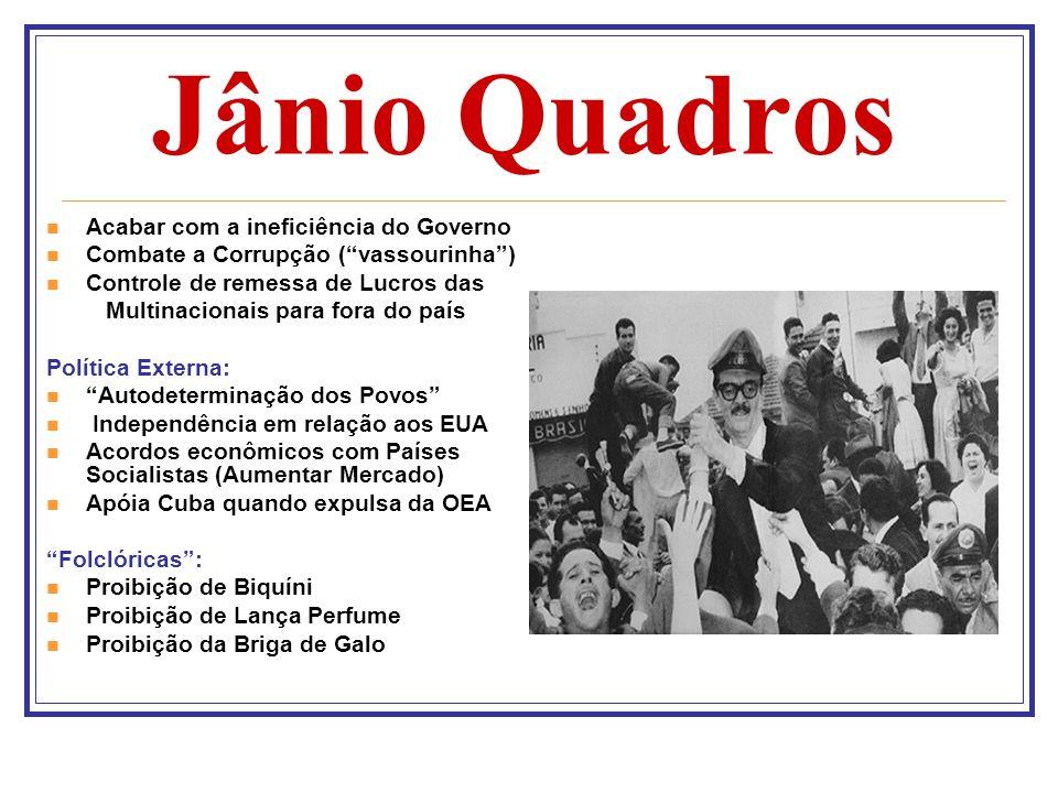 Jânio Quadros Acabar com a ineficiência do Governo Combate a Corrupção (vassourinha) Controle de remessa de Lucros das Multinacionais para fora do paí