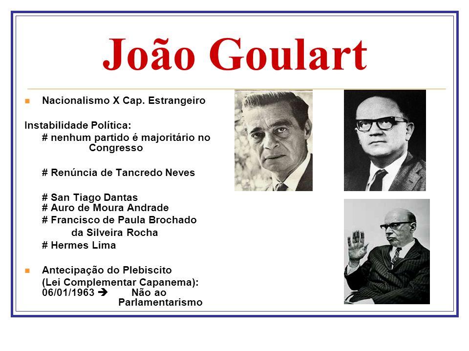 João Goulart Nacionalismo X Cap. Estrangeiro Instabilidade Política: # nenhum partido é majoritário no Congresso # Renúncia de Tancredo Neves # San Ti