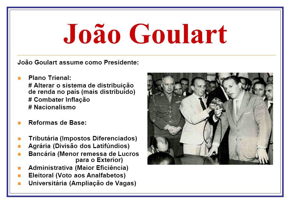 João Goulart João Goulart assume como Presidente: Plano Trienal: # Alterar o sistema de distribuição de renda no país (mais distribuído) # Combater In