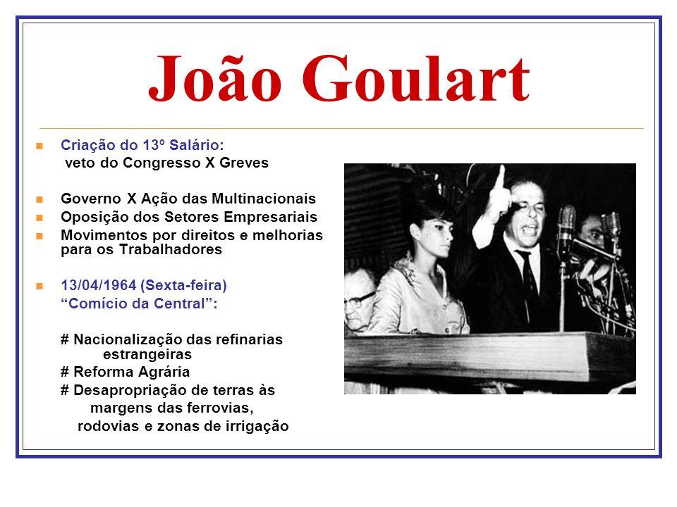 João Goulart Criação do 13º Salário: veto do Congresso X Greves Governo X Ação das Multinacionais Oposição dos Setores Empresariais Movimentos por dir