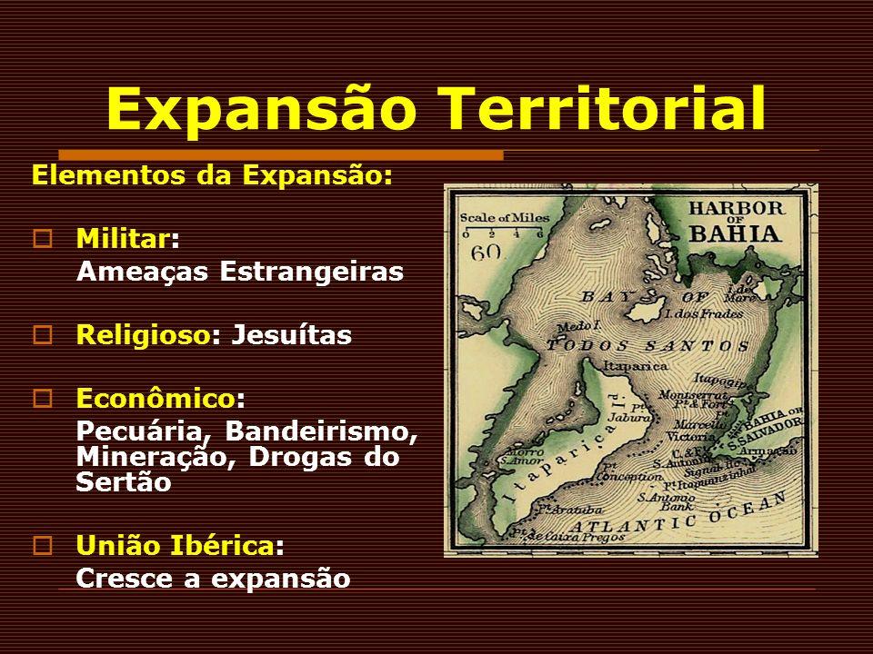 Elementos da Expansão: Militar: Ameaças Estrangeiras Religioso: Jesuítas Econômico: Pecuária, Bandeirismo, Mineração, Drogas do Sertão União Ibérica: