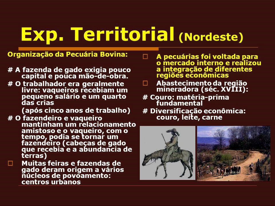 Exp. Territorial (Nordeste) Organização da Pecuária Bovina: # A fazenda de gado exigia pouco capital e pouca mão-de-obra. # O trabalhador era geralmen