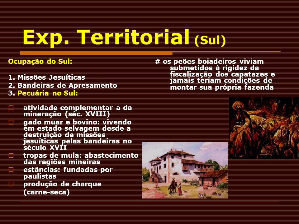 Exp. Territorial (Sul) Ocupação do Sul: 1. Missões Jesuíticas 2. Bandeiras de Apresamento 3. Pecuária no Sul: atividade complementar a da mineração (s