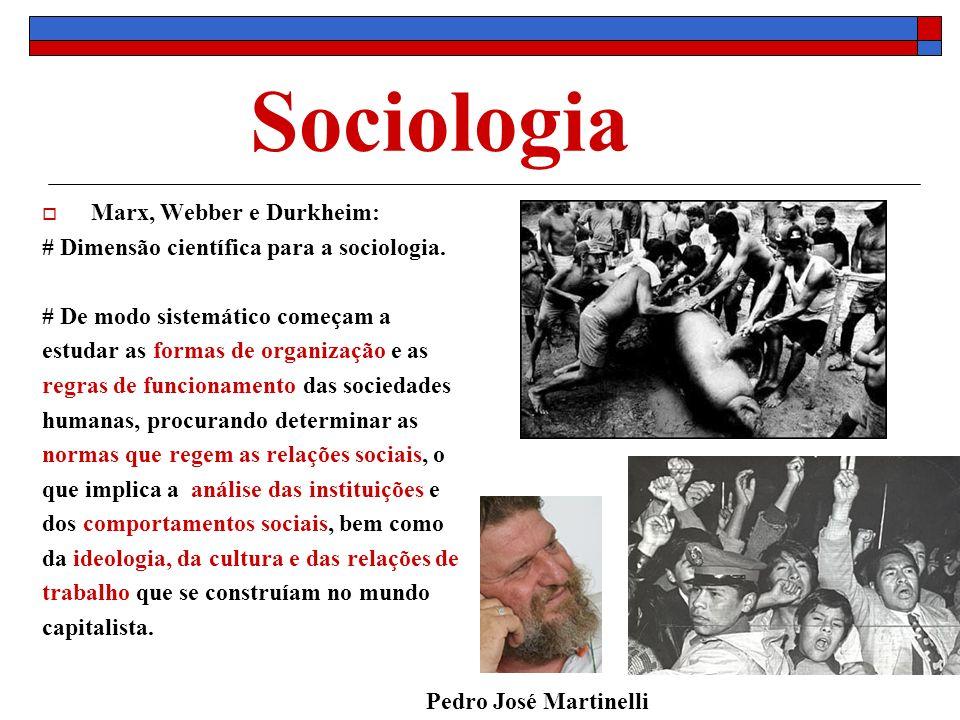 Sociologia Marx, Webber e Durkheim: # Dimensão científica para a sociologia. # De modo sistemático começam a estudar as formas de organização e as reg