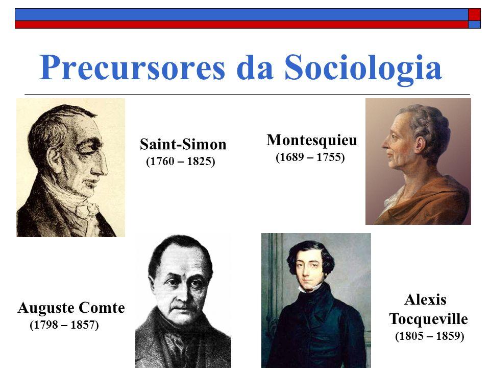 Precursores da Sociologia Montesquieu (1689 – 1755) Saint-Simon (1760 – 1825) Auguste Comte (1798 – 1857) Alexis Tocqueville (1805 – 1859)