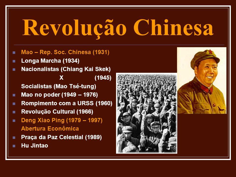 Revolução Chinesa Mao – Rep. Soc. Chinesa (1931) Longa Marcha (1934) Nacionalistas (Chiang Kai Skek) X (1945) Socialistas (Mao Tsé-tung) Mao no poder