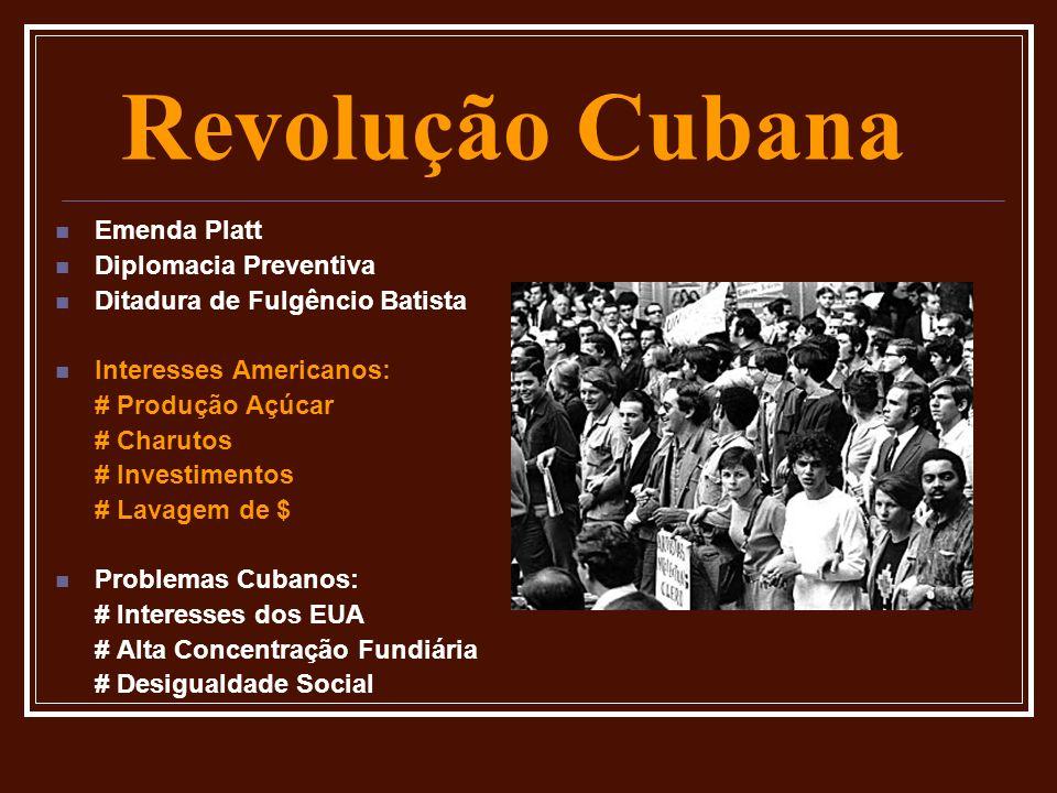 Revolução Cubana Emenda Platt Diplomacia Preventiva Ditadura de Fulgêncio Batista Interesses Americanos: # Produção Açúcar # Charutos # Investimentos