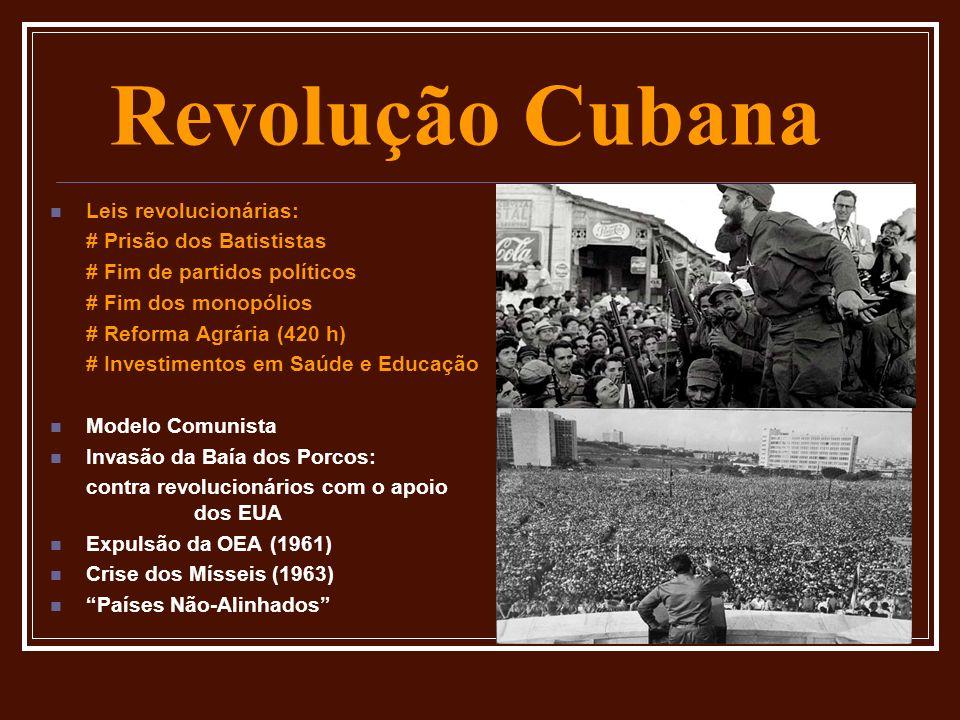 Revolução Cubana Leis revolucionárias: # Prisão dos Batististas # Fim de partidos políticos # Fim dos monopólios # Reforma Agrária (420 h) # Investime
