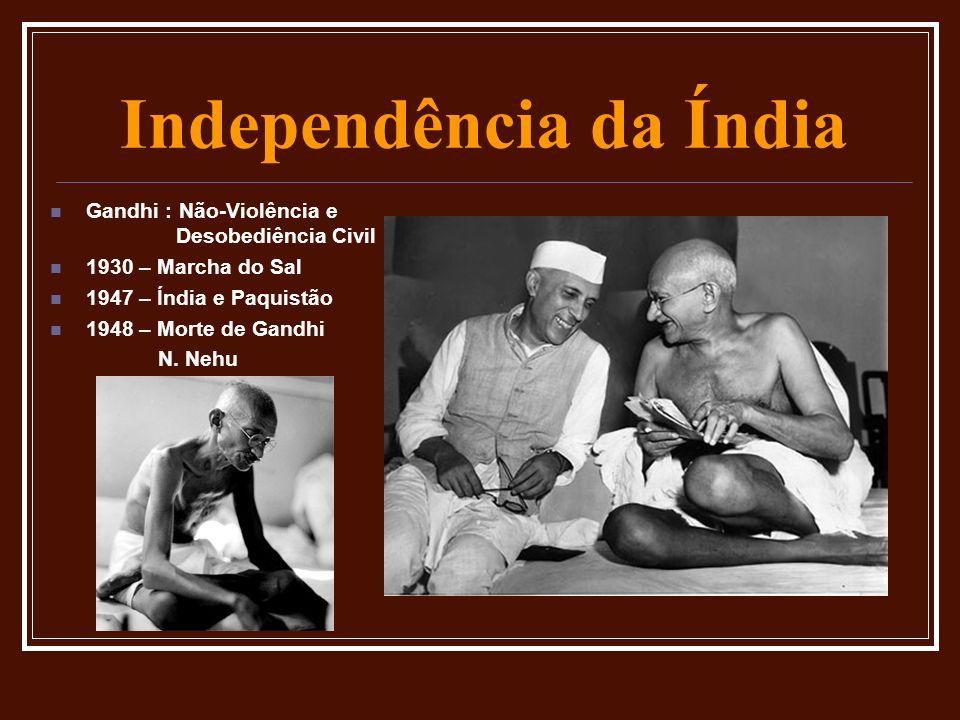 Independência da Índia Gandhi : Não-Violência e Desobediência Civil 1930 – Marcha do Sal 1947 – Índia e Paquistão 1948 – Morte de Gandhi N. Nehu