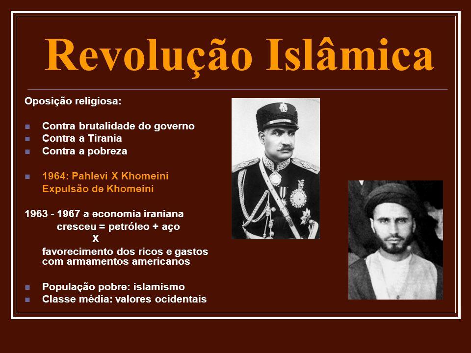Revolução Islâmica Oposição religiosa: Contra brutalidade do governo Contra a Tirania Contra a pobreza 1964: Pahlevi X Khomeini Expulsão de Khomeini 1