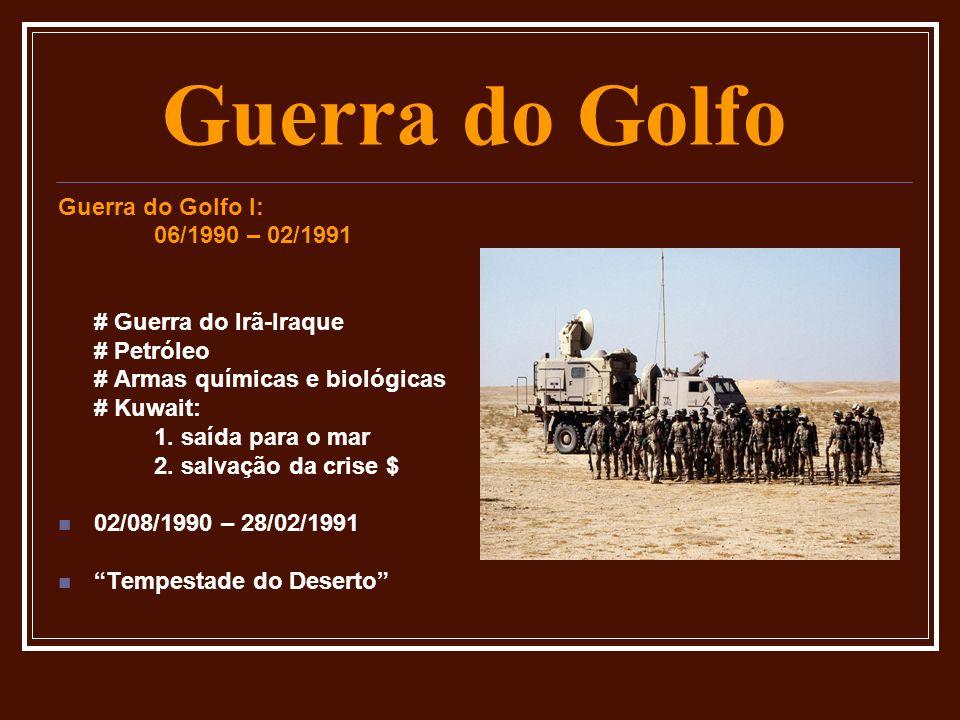 Mortos: # 100.000 iraquianos # 10.000 forças de coalizão Guerra do Golfo II: (2003) # Petróleo # Armas químicas e biológicas # Guerra do Golfo I Operação Iraque Livre Saddam foi enforcado no dia 31/12/2006 Guerra do Golfo