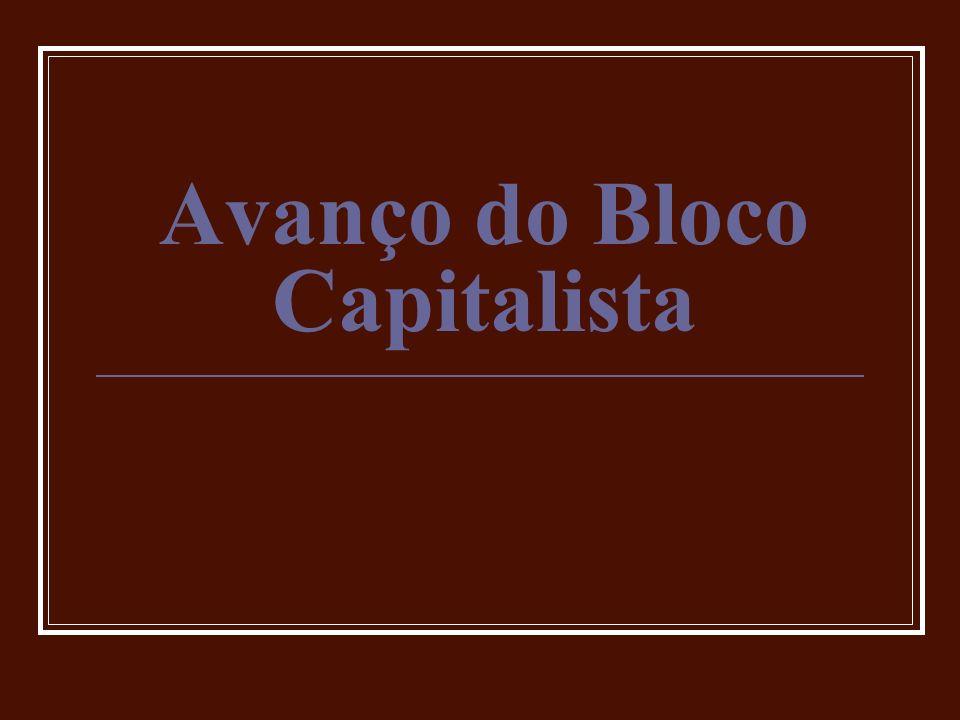 Bloco Capitalista Estados Unidos: Hegemonia (anos 50 e 60) Grande potência capitalista Prosperidade (Fair Deal) Doutrina Truman: OTAN Plano Marshall (1947) Macarthismo (1950 – 1954) (Comitê de Atividades Anti-Americanas) Corrida Armamentista e Belicismo Movimentos Sociais Direitos Civis M.