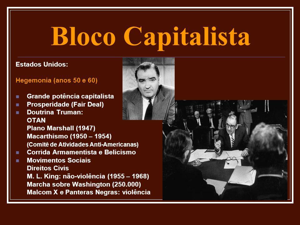 Bloco Capitalista Estados Unidos: Hegemonia (anos 50 e 60) Grande potência capitalista Prosperidade (Fair Deal) Doutrina Truman: OTAN Plano Marshall (