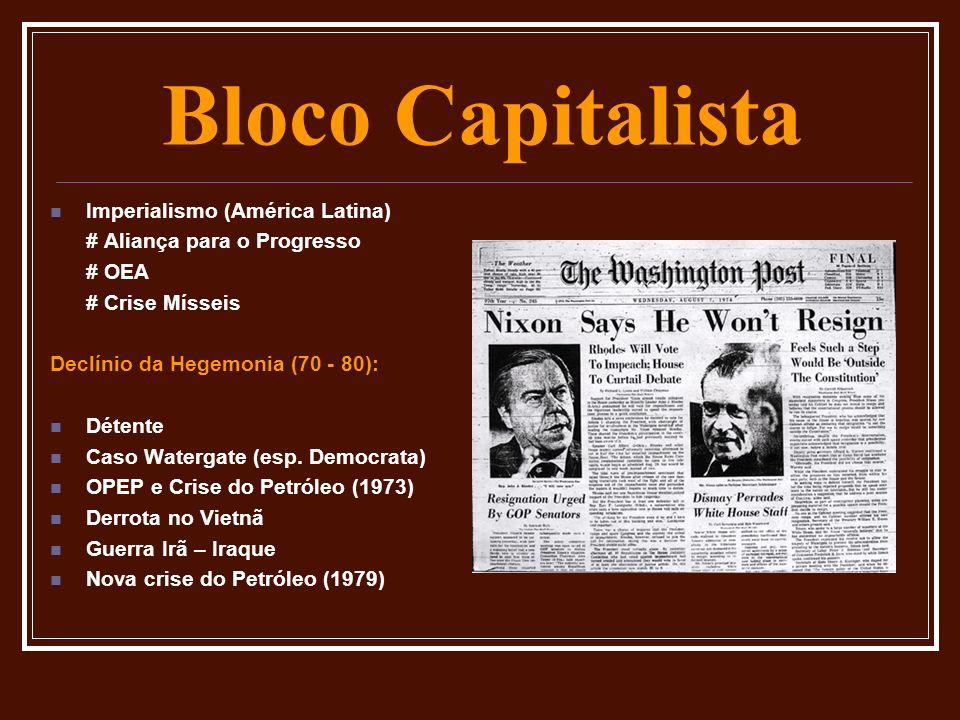Bloco Capitalista Imperialismo (América Latina) # Aliança para o Progresso # OEA # Crise Mísseis Declínio da Hegemonia (70 - 80): Détente Caso Waterga