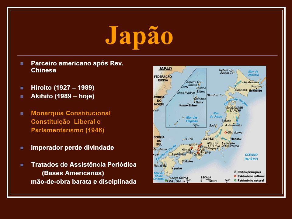 Japão Parceiro americano após Rev. Chinesa Hiroito (1927 – 1989) Akihito (1989 – hoje) Monarquia Constitucional Constituição Liberal e Parlamentarismo