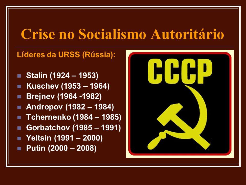 Crise no Socialismo Autoritário Líderes da URSS (Rússia): Stalin (1924 – 1953) Kuschev (1953 – 1964) Brejnev (1964 -1982) Andropov (1982 – 1984) Tcher