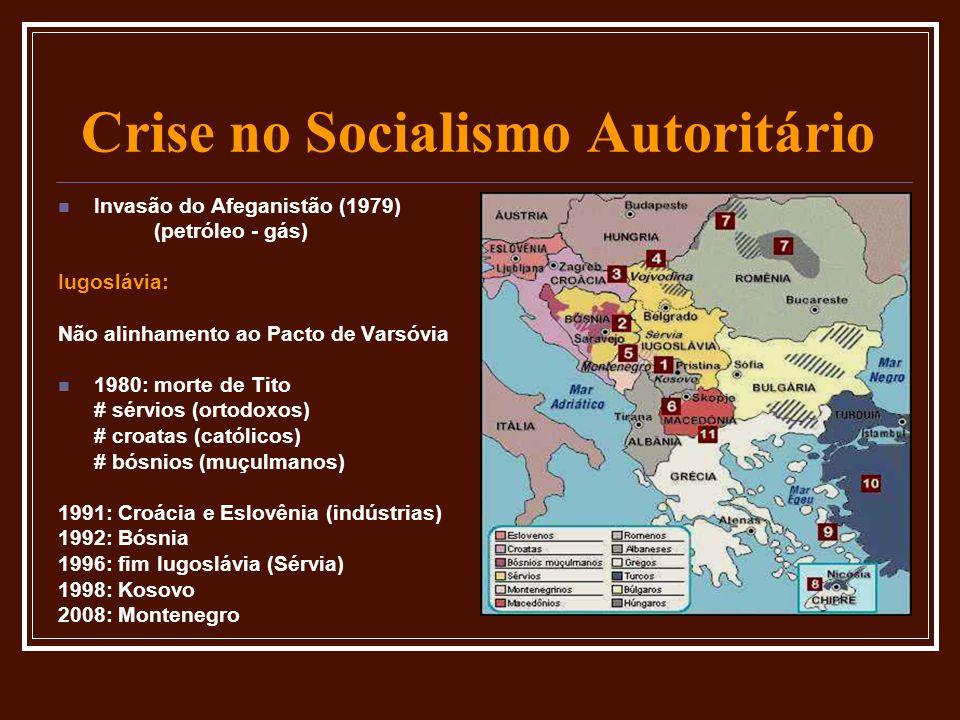 Crise no Socialismo Autoritário Invasão do Afeganistão (1979) (petróleo - gás) Iugoslávia: Não alinhamento ao Pacto de Varsóvia 1980: morte de Tito #