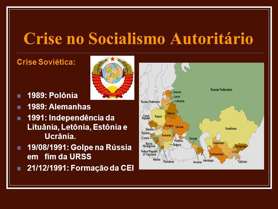 Crise no Socialismo Autoritário Crise Soviética: 1989: Polônia 1989: Alemanhas 1991: Independência da Lituânia, Letônia, Estônia e Ucrânia. 19/08/1991