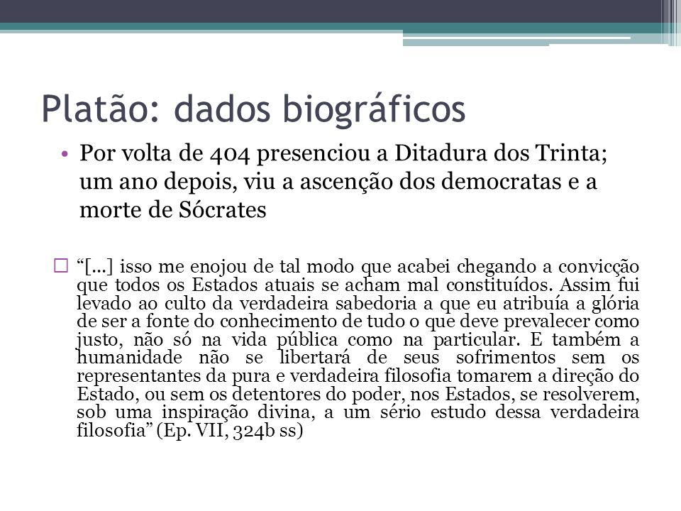 Por volta de 404 presenciou a Ditadura dos Trinta; um ano depois, viu a ascenção dos democratas e a morte de Sócrates [...] isso me enojou de tal modo