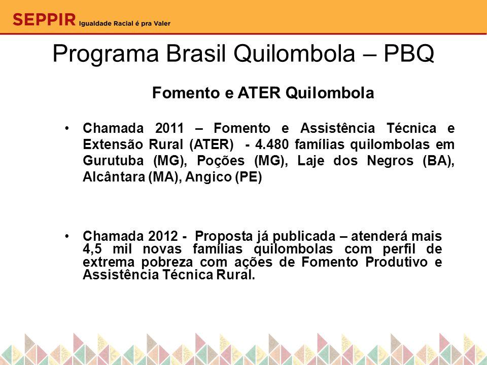Fomento e ATER Quilombola Chamada 2011 – Fomento e Assistência Técnica e Extensão Rural (ATER) - 4.480 famílias quilombolas em Gurutuba (MG), Poções (