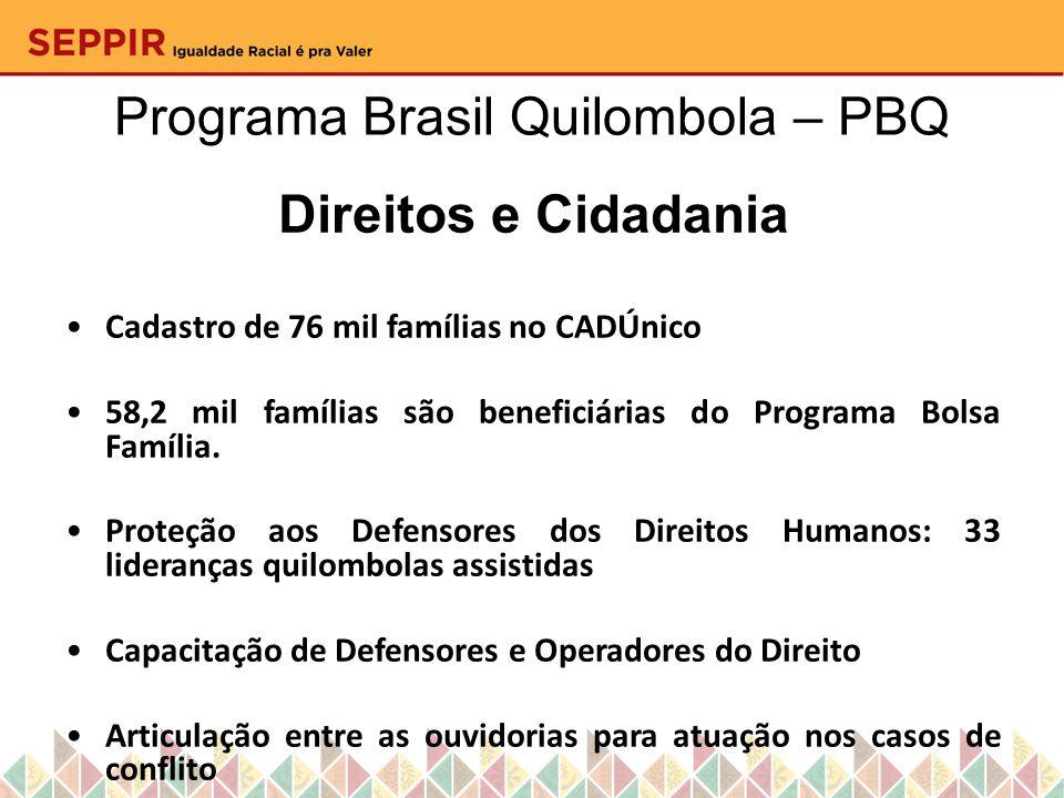 Programa Brasil Quilombola – PBQ Direitos e Cidadania Cadastro de 76 mil famílias no CADÚnico 58,2 mil famílias são beneficiárias do Programa Bolsa Fa